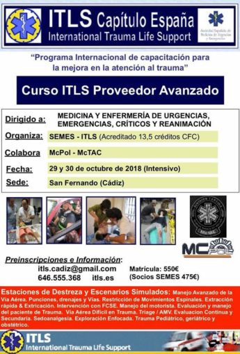 Curso SEMES-ITLS Proveedor Avanzado (International Trauma Life Support)