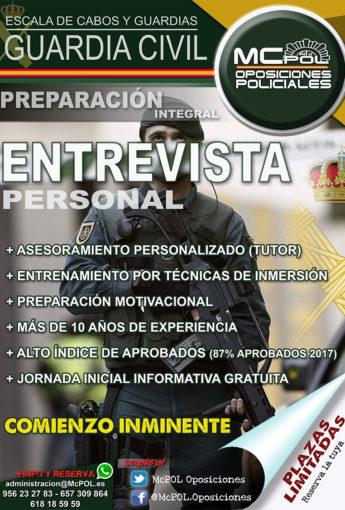 28 de Julio. Comienzo Curso Entrevistas Guardia Civil